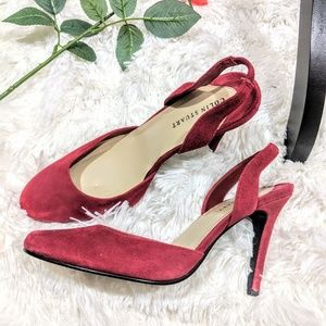 COLIN STUART cute red suede heels, size 7.5